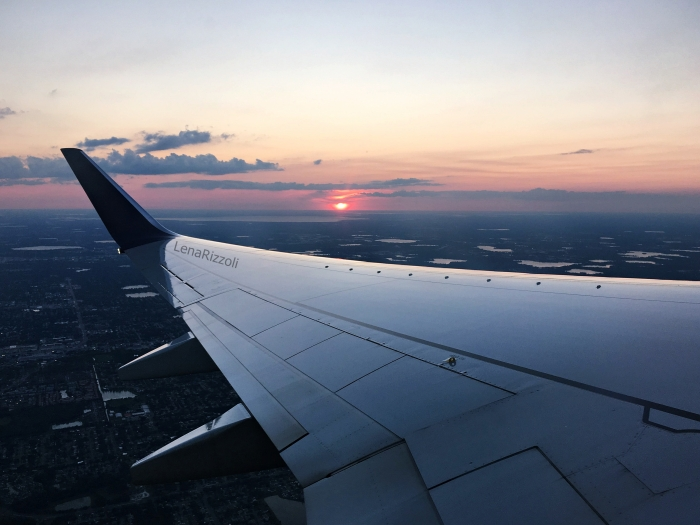 Airplane View at Orlando landscape and sunset